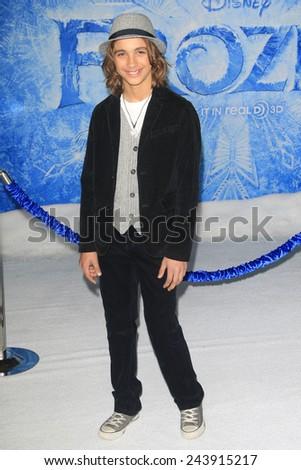 LOS ANGELES - NOV 19: Tyler Ganus at the premiere of Walt Disney Animation Studios' 'Frozen' at the El Capitan Theater on November 19, 2013 in Los Angeles, CA - stock photo