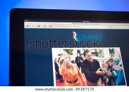 LOS ANGELES - NOVEMBER 22: Homepage of Mitt Romney, Republican candidate for president of the United Sates in 2012 on November 22, 2011 in Los Angeles California. - stock photo