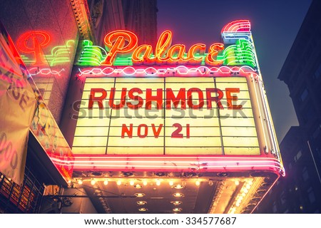 LOS ANGELES - November 1, 2015: Vintage neon sign over the entrance to historic Palace Theatre in downtown LA. - stock photo