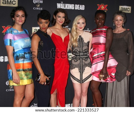 "LOS ANGELES - OCT 2:  Alanna Masterson, Sonequa Martin-Green, Lauren Cohan, Emily Kinney, Danai Gurira, M McBride at the ""The Walking Dead"" Premiere at City Walk on October 2, 2014 in Los Angeles, CA - stock photo"