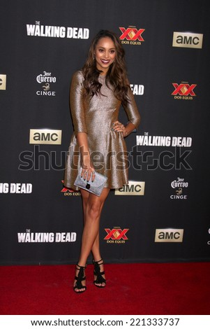 "LOS ANGELES - OCT 2:  Amber Stevens at the ""The Walking Dead"" Season 5 Premiere at Universal City Walk on October 2, 2014 in Los Angeles, CA - stock photo"