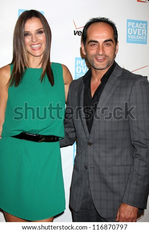 LOS ANGELES - OCT 26:  Ana Alexander, Navid Negahban arrives at the 41st Annual Peace Over Violence Humanitarian Awards at Beverly Hills Hotel on October 26, 2012 in Beverly Hills, CA - stock photo