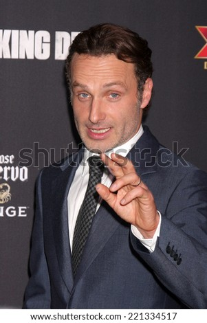 "LOS ANGELES - OCT 2:  Andrew Lincoln at the ""The Walking Dead"" Season 5 Premiere at Universal City Walk on October 2, 2014 in Los Angeles, CA - stock photo"