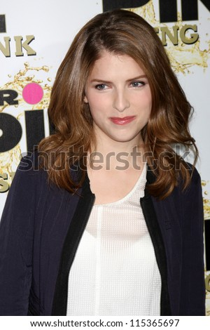 "LOS ANGELES - OCT 11:  Anna Kendrick arrives at the ""Mr. Pink"" Energy Drink Launch at Beverly Wilshire Hotel on October 11, 2012 in Beverly Hills, CA - stock photo"