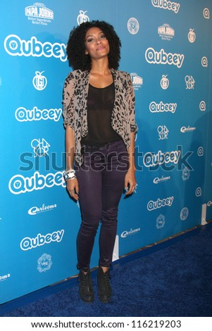 LOS ANGELES - OCT 20:  Annie Ilonzeh arrives at  the Qubeeys Chris Brown Channel Launch Event at Private Residence on October 20, 2012 in Beverly Hills, CA - stock photo