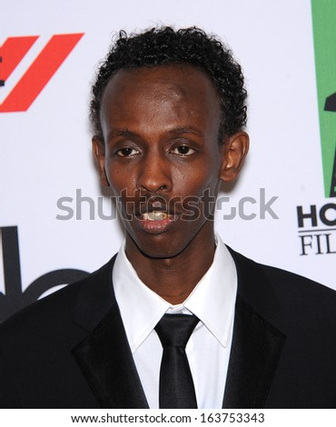 LOS ANGELES - OCT 21:  Barkhad Abdi arrives to Hollywood Film Awards Gala 2013  on October 21, 2013 in Beverly Hills, CA                 - stock photo