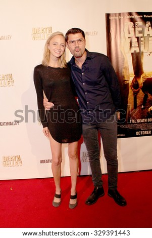"""LOS ANGELES- OCT 17: Beatrice Brigitte arrives at the """"Death Valley"""" film premiere Oct. 17, 2015 at Raleigh Studios in Los Angeles, CA. - stock photo"""