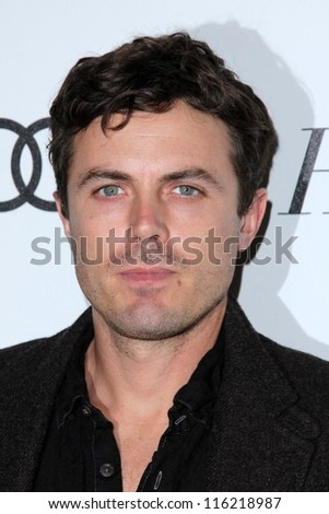 """LOS ANGELES - OCT 20:  Casey Affleck arrives at  the """"Reel Stories, Real Lives"""" Event at Milk Studios on October 20, 2012 in Los Angeles, CA - stock photo"""