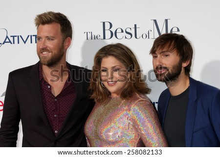 "LOS ANGELES - OCT 7:  Charles Kelley, Hillary Scott, Dave Haywood, Lady Antebellum at the ""The Best of Me"" LA Premiere at Regal 14 Theaters on October 7, 2014 in Los Angeles, CA - stock photo"
