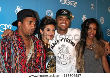 LOS ANGELES - OCT 20:  Chris Brown and his artists arrives at  the Qubeeys Chris Brown Channel Launch Event at Private Residence on October 20, 2012 in Beverly Hills, CA - stock photo