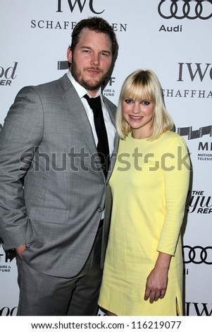 "LOS ANGELES - OCT 20:  Chris Pratt, Anna Faris arrives at  the ""Reel Stories, Real Lives"" Event at Milk Studios on October 20, 2012 in Los Angeles, CA - stock photo"
