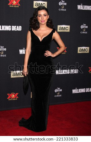 "LOS ANGELES - OCT 2:  Christian Serratos at the ""The Walking Dead"" Season 5 Premiere at Universal City Walk on October 2, 2014 in Los Angeles, CA - stock photo"
