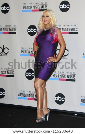 LOS ANGELES - OCT 9: Christina Aguilera at the 40th Anniversary American Music Awards nominations press conference, JW Marriott Los Angeles at L.A. LIVE on October 9, 2012 in Los Angeles, California - stock photo
