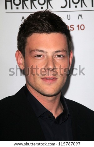 "LOS ANGELES - OCT 13:  Cory Monteith arrives at the ""American Horror Story: Asylum"" Premiere Screening at Paramount Theater on October 13, 2012 in Los Angeles, CA - stock photo"