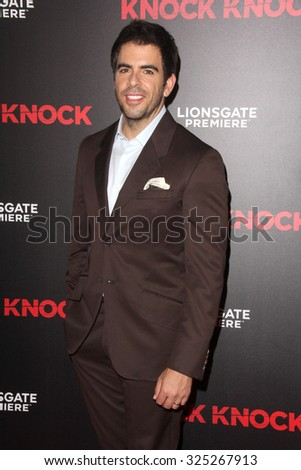 """LOS ANGELES - OCT 7:  Eli Roth at the """"Knock Knock"""" Los Angeles Premiere at the TCL Chinese 6 Theaters on October 7, 2015 in Los Angeles, CA - stock photo"""