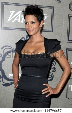 LOS ANGELES - OCT 5:  Halle Berry arrives at the Variety's 4th Annual Power Of Women Event at Beverly Wilshire Hotel on October 5, 2012 in Beverly Hills, CA - stock photo