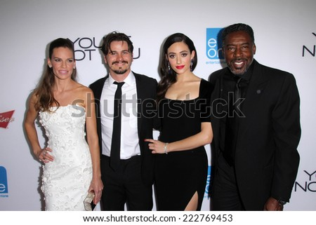 "LOS ANGELES - OCT 8:  Hilary Swank, Jason Ritter, Emmy Rossum, Ernie Hudson at the ""You're Not You"" L.A. Premiere at Landmark Theater on October 8, 2014 in Los Angeles, CA - stock photo"