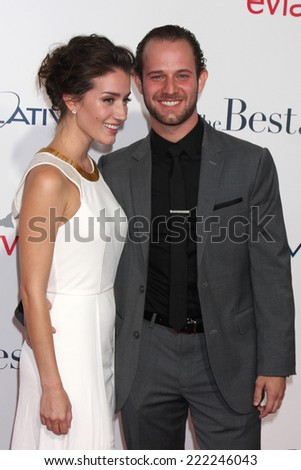 """LOS ANGELES - OCT 7:  Hunter Burke, Teri Wyble at the """"The Best of Me"""" LA Premiere at Regal 14 Theaters on October 7, 2014 in Los Angeles, CA - stock photo"""