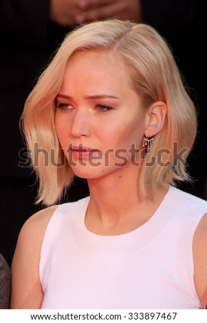 LOS ANGELES - OCT 31:  Jennifer Lawrence at the Hunger Games Handprint and Footprint Ceremony at the TCL Chinese Theater on October 31, 2015 in Los Angeles, CA - stock photo