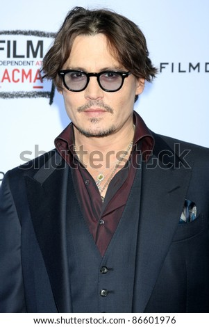 "LOS ANGELES - OCT 13:  Johnny Depp arriving at the World Premiere of ""The Rum Diary"" at the LACMA on October 13, 2011 in Los Angeles, CA - stock photo"