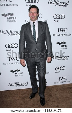 """LOS ANGELES - OCT 20:  Jon Hamm arrives at  the """"Reel Stories, Real Lives"""" Event at Milk Studios on October 20, 2012 in Los Angeles, CA - stock photo"""