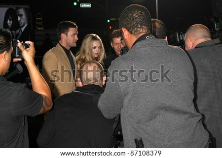 """LOS ANGELES - OCT 20:  Justin Timberlake, Amanda Seyfried arriving at the """"In Time"""" Los Angeles Premiere at the Los Angeles on October 20, 2011 in Westwood, CA - stock photo"""