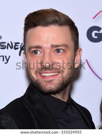 LOS ANGELES - OCT 23:  Justin Timberlake arrives to the GLSEN Awards 2015 on October 23, 2015 in Hollywood, CA.                 - stock photo
