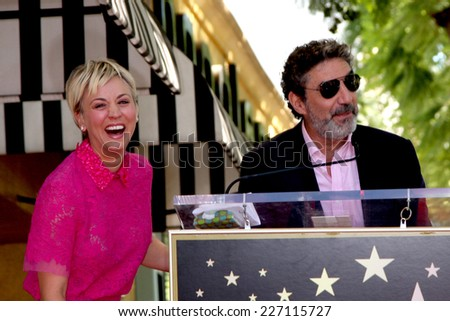 LOS ANGELES - OCT 29:  Kaley Cuoco, Chuck Lorre at the Kaley Cuoco Honored With Star On The Hollywood Walk Of Fame at the Hollywood Blvd. on October 29, 2014 in Los Angeles, CA - stock photo