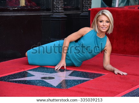 LOS ANGELES - OCT 12:  Kelly Ripa arrives to the Walk of Fame honors Kelly Ripa on October 12, 2015 in Hollywood, CA.                 - stock photo