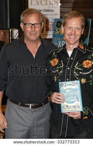 """LOS ANGELES - OCT 27:  Kevin Costner, Rick Ross at the Kevin Costner Signs """"The Explorers Guild: Volume One"""" at the Barnes and Noble on October 27, 2015 in Los Angeles, CA - stock photo"""