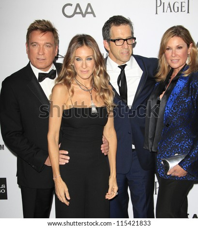 LOS ANGELES - OCT 11: Kevin Huvane, Sarah Jessica Parker, Kenneth Cole, Maria Cuomo Cole at amfAR's Inspiration Gala at Milk Studios on October 11, 2012 in Los Angeles, California. - stock photo