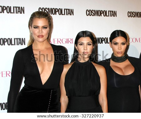 LOS ANGELES - OCT 12:  Khloe Karsahian, Kourtney Kardashian, Kim Kardashian West at the Cosmopolitan Magazine's 50th Anniversary Party at the Ysabel on October 12, 2015 in Los Angeles, CA - stock photo