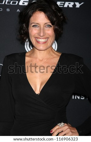 "LOS ANGELES - OCT 26:  Lisa Edelstein arrives at ""The Pink Party '12"" at Hanger 8 on October 26, 2012 in Santa Monica, CA - stock photo"