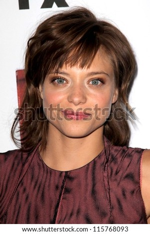 "LOS ANGELES - OCT 13:  Lizzie Brochere arrives at the ""American Horror Story: Asylum"" Premiere Screening at Paramount Theater on October 13, 2012 in Los Angeles, CA - stock photo"