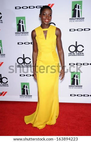 LOS ANGELES - OCT 21:  Lupita Nyong'o arrives to Hollywood Film Awards Gala 2013  on October 21, 2013 in Beverly Hills, CA                 - stock photo