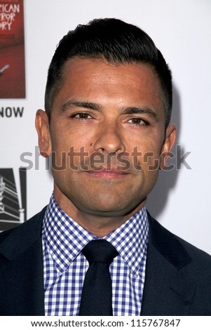 "LOS ANGELES - OCT 13:  Mark Consuelos arrives at the ""American Horror Story: Asylum"" Premiere Screening at Paramount Theater on October 13, 2012 in Los Angeles, CA - stock photo"