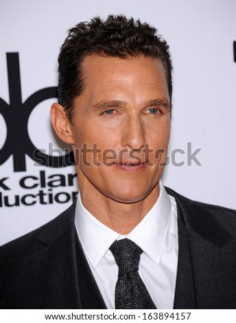 LOS ANGELES - OCT 21:  Matthew McConaughey arrives to Hollywood Film Awards Gala 2013  on October 21, 2013 in Beverly Hills, CA                 - stock photo