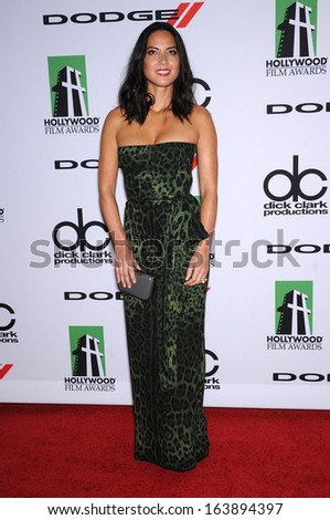 LOS ANGELES - OCT 21:  Olivia Munn arrives to Hollywood Film Awards Gala 2013  on October 21, 2013 in Beverly Hills, CA                 - stock photo
