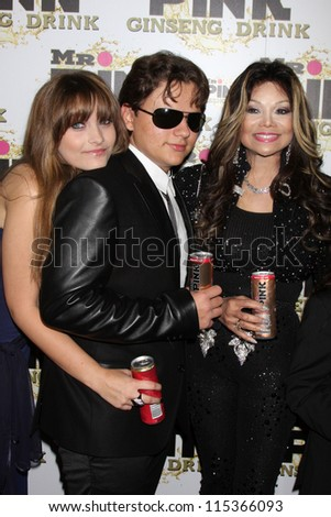 "LOS ANGELES - OCT 11:  Paris Jackson, Prince Michael Jackson, LaToya Jackson arrives at the ""Mr. Pink"" Energy Drink Launch at Beverly Wilshire Hotel on October 11, 2012 in Beverly Hills, CA - stock photo"