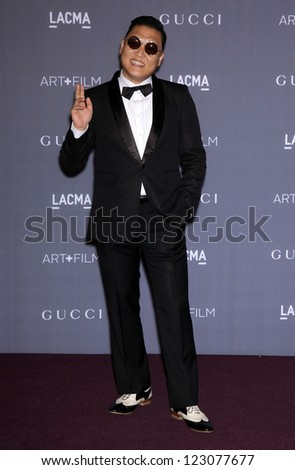 LOS ANGELES - OCT 27:  PSY arrives to the LACMA hosts 2012 Art + Film Gala  on October 27, 2012 in Los Angeles, CA - stock photo