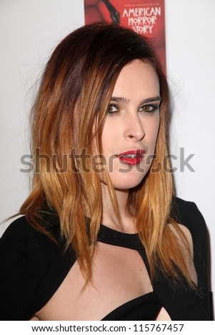 """LOS ANGELES - OCT 13:  Rumer Willis arrives at the """"American Horror Story: Asylum"""" Premiere Screening at Paramount Theater on October 13, 2012 in Los Angeles, CA - stock photo"""
