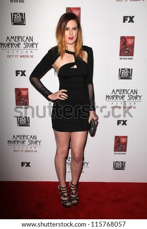 "LOS ANGELES - OCT 13:  Rumer Willis arrives at the ""American Horror Story: Asylum"" Premiere Screening at Paramount Theater on October 13, 2012 in Los Angeles, CA - stock photo"