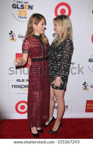 LOS ANGELES - OCT 23:  Sasha Alexander, Jessica Capshaw at the 2015 GLSEN Respect Awards at the Beverly Wilshire Hotel on October 23, 2015 in Beverly Hills, CA - stock photo