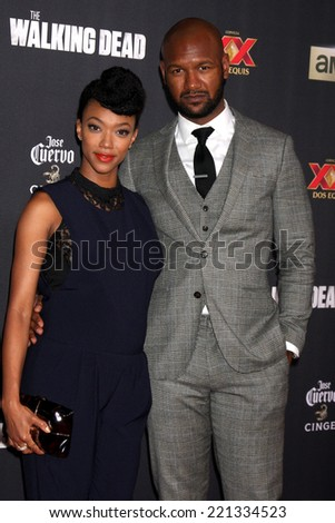 "LOS ANGELES - OCT 2:  Sonequa Martin-Green, Kenric Green at the ""The Walking Dead"" Season 5 Premiere at Universal City Walk on October 2, 2014 in Los Angeles, CA - stock photo"