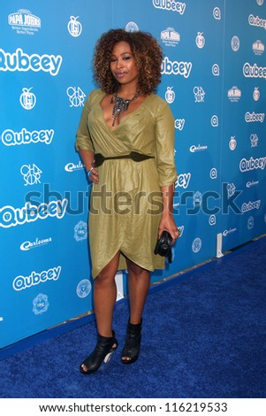 LOS ANGELES - OCT 20:  Tanika Ray arrives at  the Qubeeys Chris Brown Channel Launch Event at Private Residence on October 20, 2012 in Beverly Hills, CA - stock photo