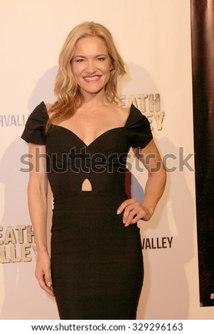 """LOS ANGELES- OCT 17: Victoria Pratt arrives at the """"Death Valley"""" film premiere Oct. 17, 2015 at Raleigh Studios in Los Angeles, CA. - stock photo"""