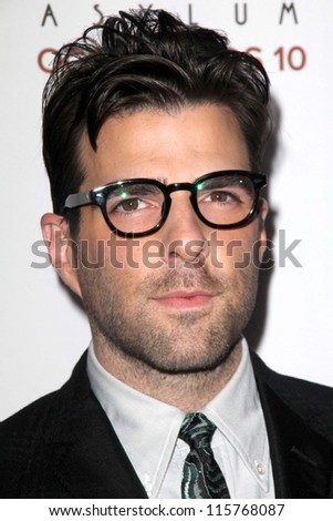 "LOS ANGELES - OCT 13:  Zachary Quinto arrives at the ""American Horror Story: Asylum"" Premiere Screening at Paramount Theater on October 13, 2012 in Los Angeles, CA - stock photo"