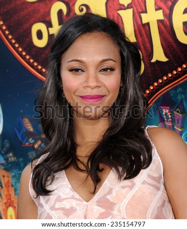 "LOS ANGELES - OCT 12:  Zoe Saldana arrives to the ""The Book of Life"" Los Angeles Premiere on October 12, 2014 in Los Angeles, CA                 - stock photo"