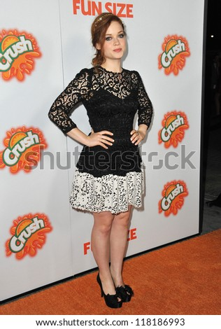 "LOS ANGELES - OCTOBER 25: Jane Levy at the Los Angeles premiere of her new movie ""Fun Size"" at the Paramount Theater, Hollywood October 25, 2012 in Los Angeles - stock photo"