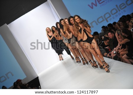 LOS ANGELES - OCTOBER 19: Models walk runway at the Nicolita Swimwear Fashion Show for SS 2013 at Sunset Gower Studios during Los Angeles Fashion Weekend on October 19, 2012 in Los Ageles, CA - stock photo
